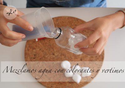 Mezclamos agua con los colorantes y vertimos